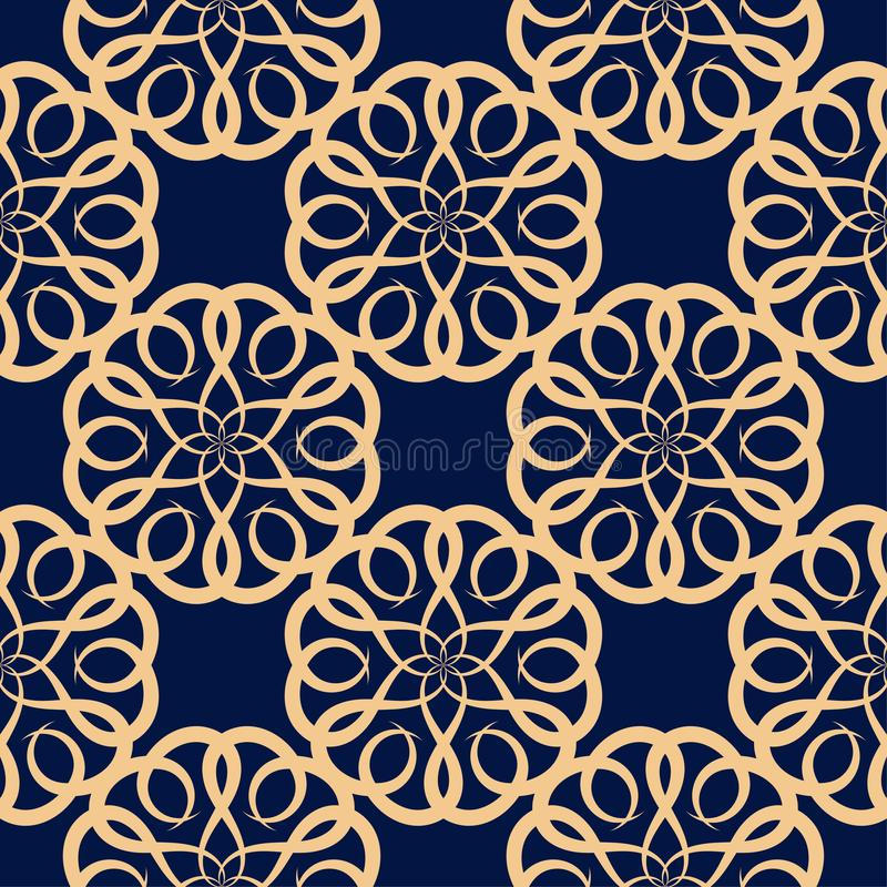 Golden floral element on dark blue background. Seamless pattern stock illustration