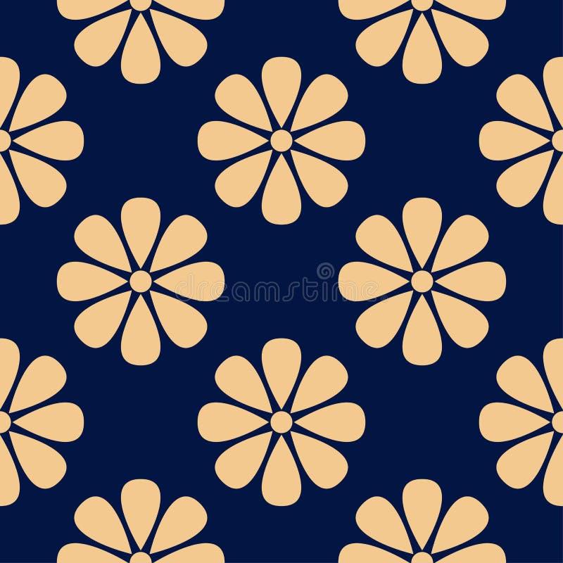 Golden floral element on dark blue background. Seamless pattern vector illustration