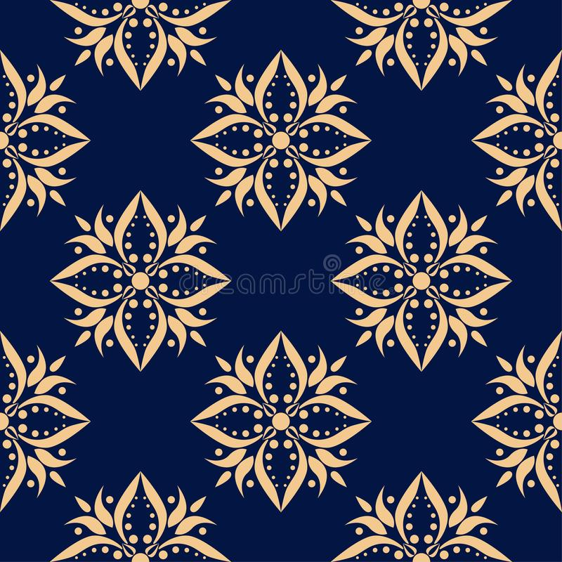 Golden floral element on dark blue background. Seamless pattern vector illustration