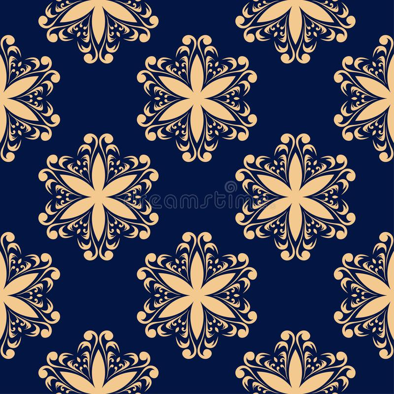 Golden floral element on dark blue background. Seamless pattern royalty free illustration