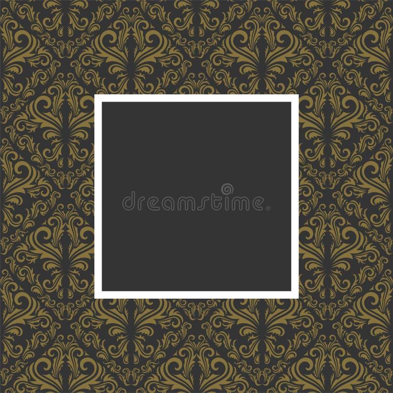 Golden floral frame. Seamless golden floral pattern with frame in gray color stock illustration