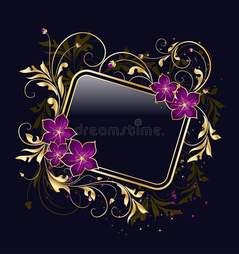 Golden Floral Frame Stock Images
