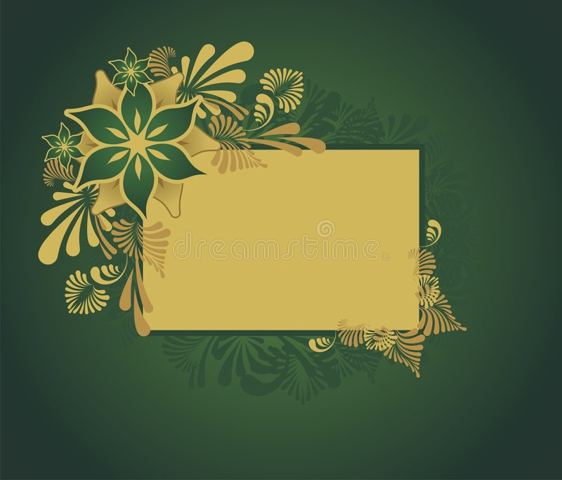 Golden floral frame. With place for your text stock illustration