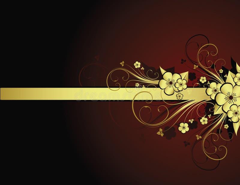 Golden floral frame royalty free illustration