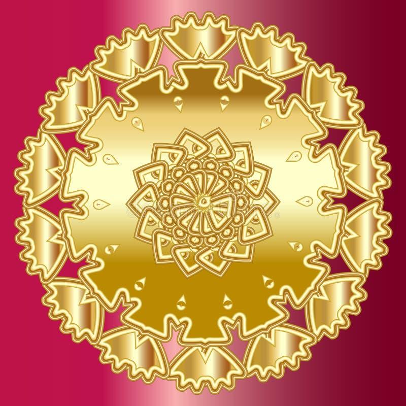 Golden mandala over ruby red background royalty free illustration