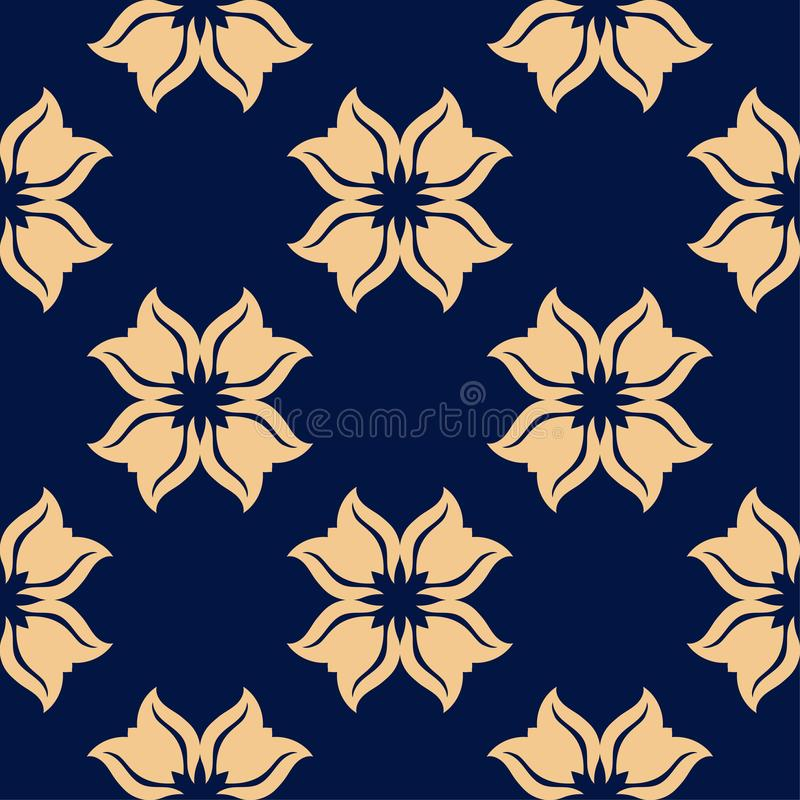 Golden floral seamless pattern on blue background stock illustration