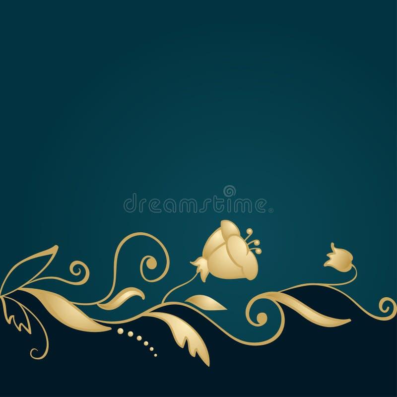 Golden floral ornament on green background royalty free illustration