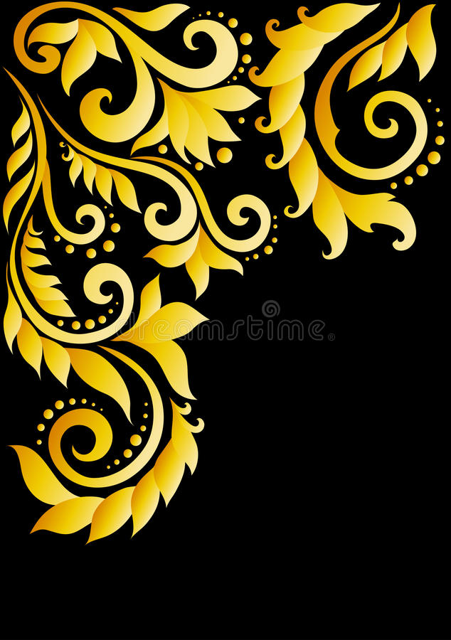 Golden floral ornament with leaves and swirls in t