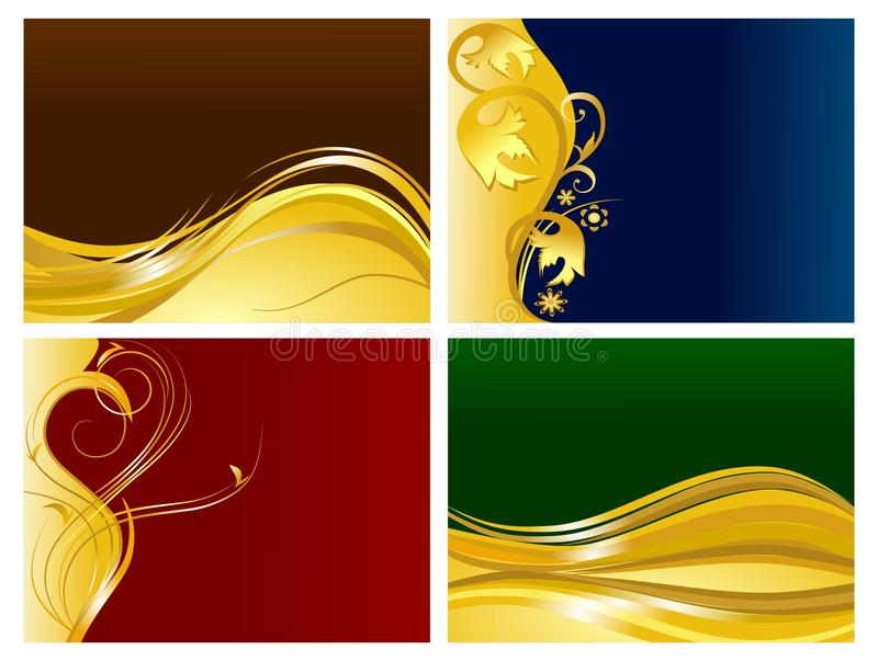 Golden Floral Ornaments Background Set Stock Photos