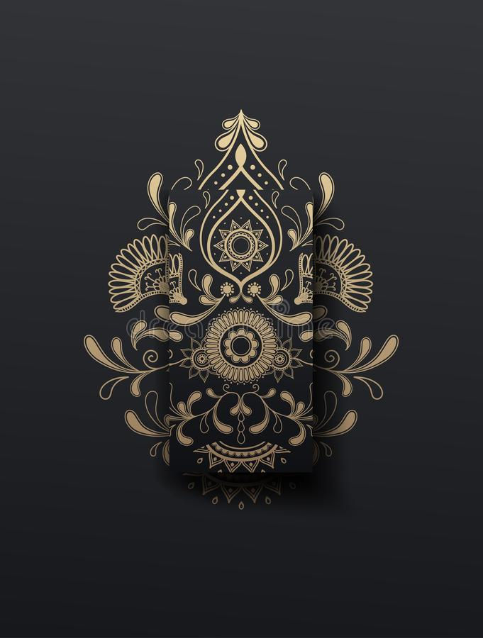 Golden floral paisley vector illustrator ornament mobile phone wallpaper background stock illustration
