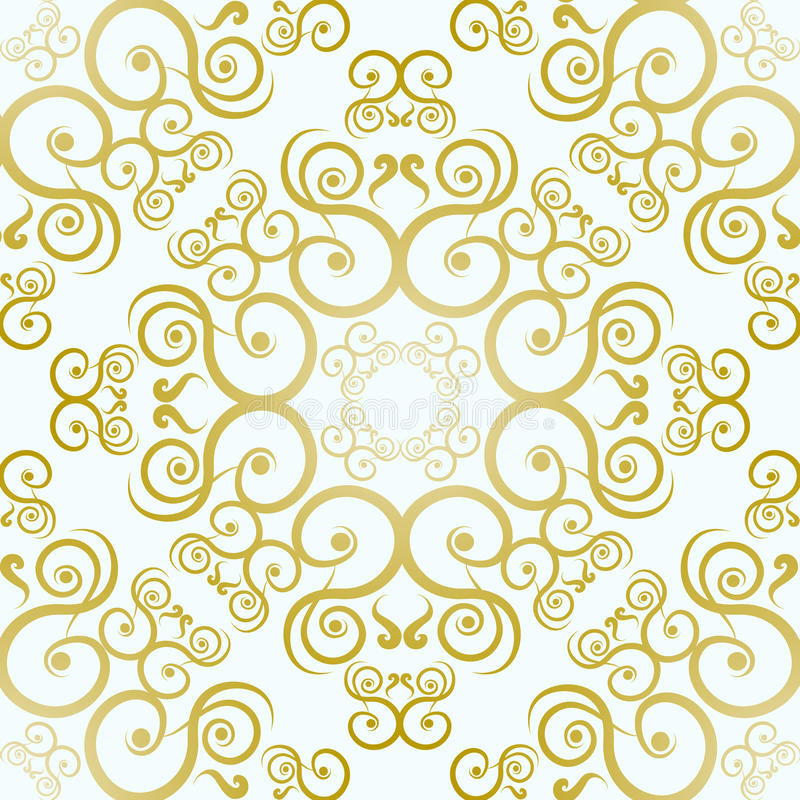 Download Golden Floral Pattern On A White Background Stock Vector
