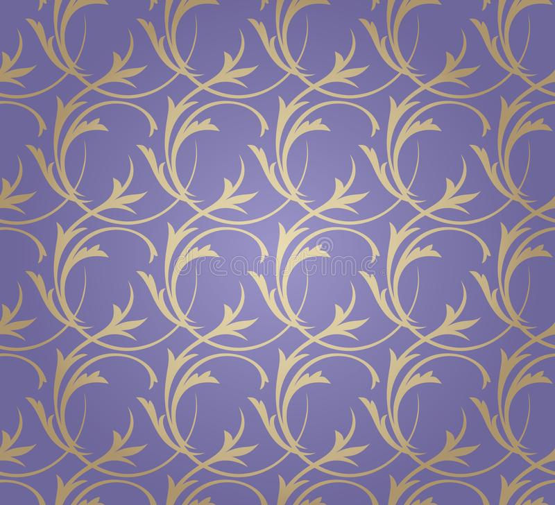 Golden floral seamless ornament on lilac background stock illustration