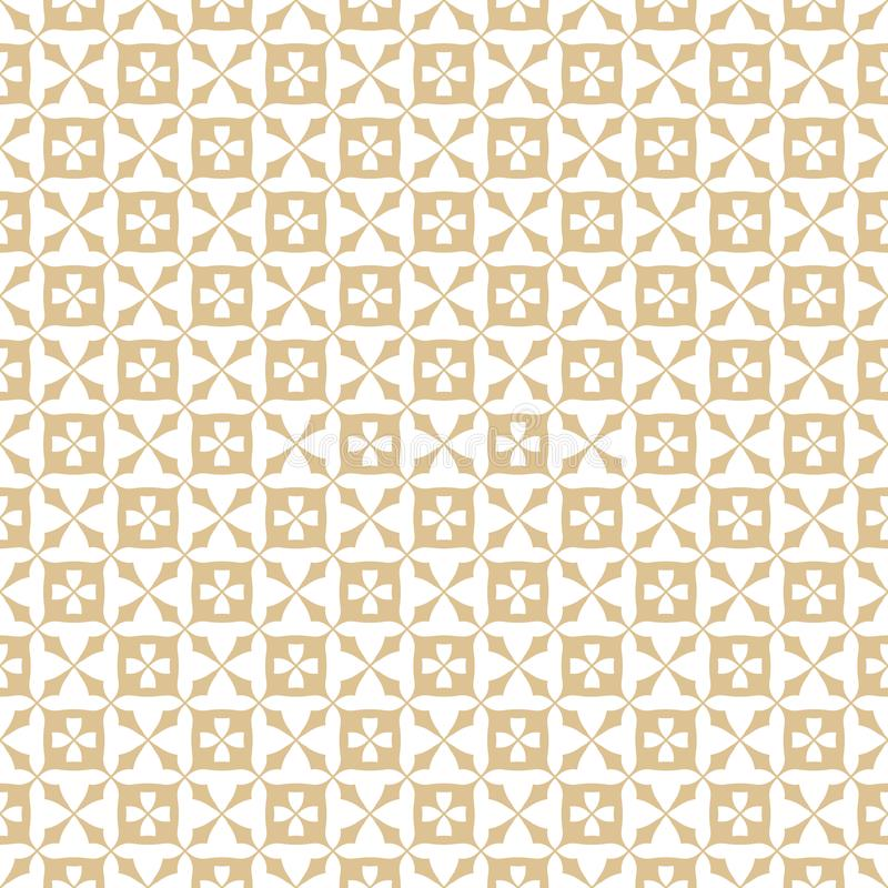 Golden floral seamless pattern. Abstract geometric texture with small flowers, squares, grid, lattice, repeat tiles. stock illustration
