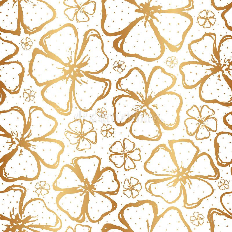 Free Golden Floral Seamless Pattern. Gold Spring Background. Summer Texture. Hand Drawn Flowers. Design Flower For Wallpapers, Wrapping Stock Photography - 207114382