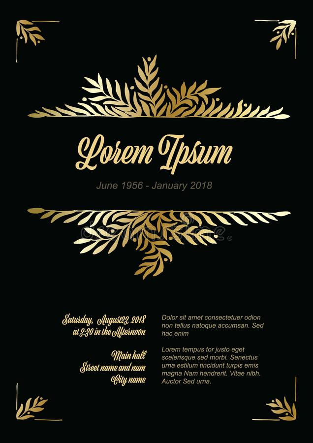 Free Golden Flower Frame Illustration Template Royalty Free Stock Photography - 109137477