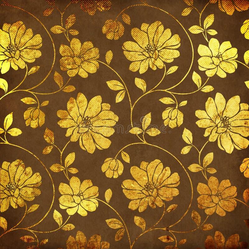 Golden flowers royalty free illustration