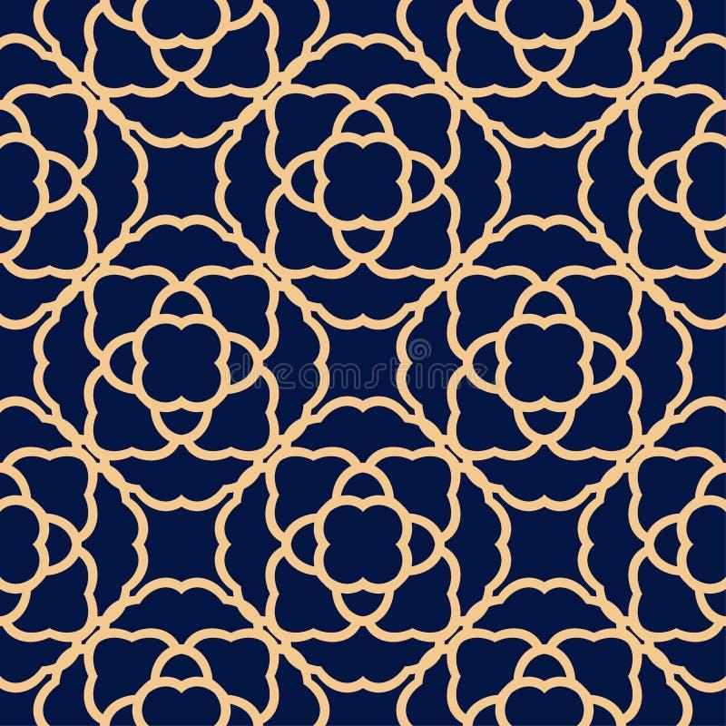 Golden flowers on blue background. Ornamental seamless pattern stock illustration