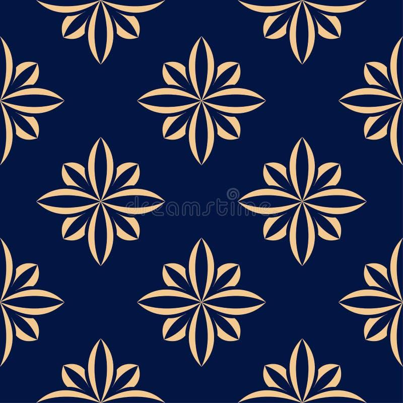 Golden flowers on blue background. Ornamental seamless pattern vector illustration
