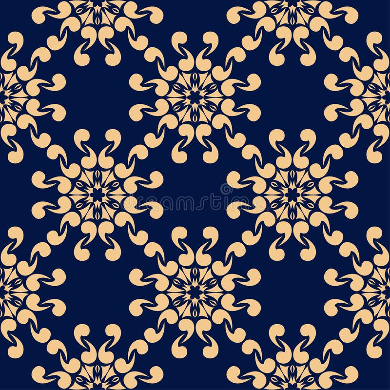 Golden flowers on blue background. Ornamental seamless pattern royalty free illustration