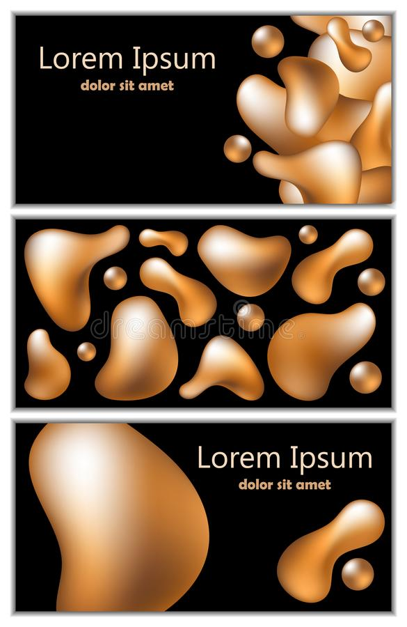Golden fluid shapes on black background. Trendy 3d vector cover templates. Set of modern banner or flyer with text place. Abstract golden fluid objects stock illustration