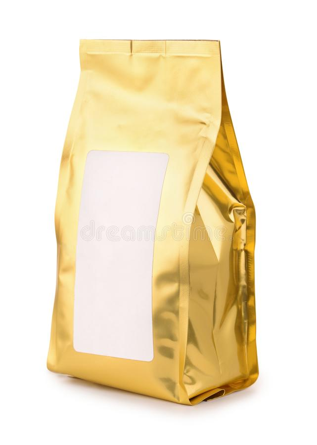 Golden foil food bag with blank label stock images