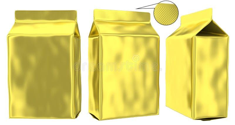 Golden foil pouch gusseted plastic bag royalty free illustration