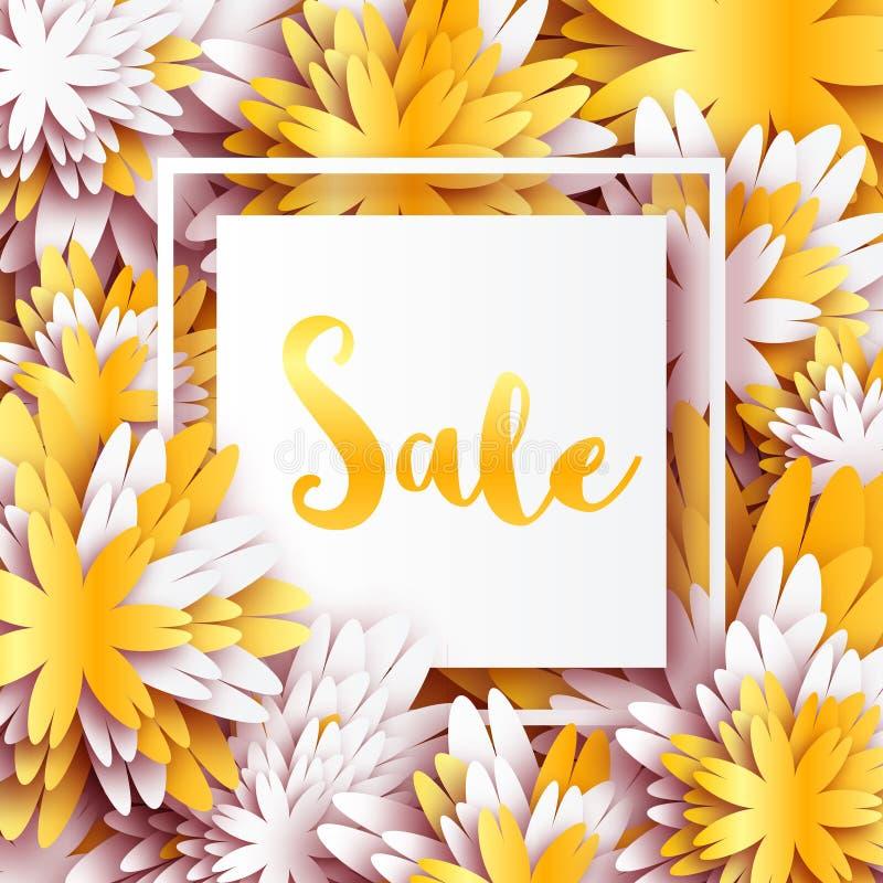 Golden foil spring summer sale banner with frame for business stock download golden foil spring summer sale banner with frame for business stock vector illustration mightylinksfo