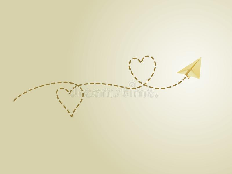 A golden folded paper plane making love sign route to show happy travel emotion. Vector illustration royalty free illustration