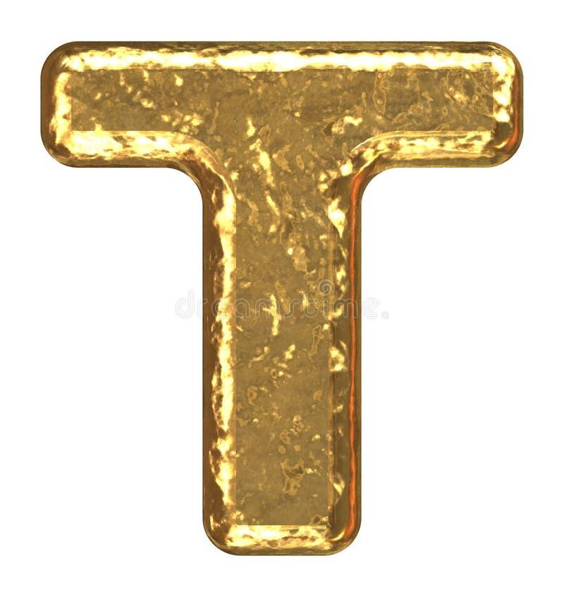 Golden font. Letter T. vector illustration