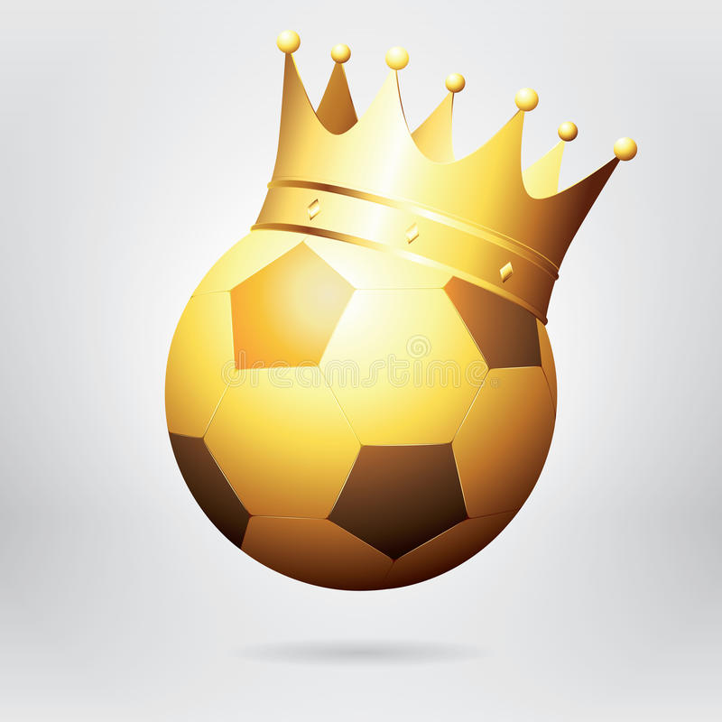 Golden Football / Soccer Ball With Crown. Photo-realistic Vector. Illustration royalty free illustration