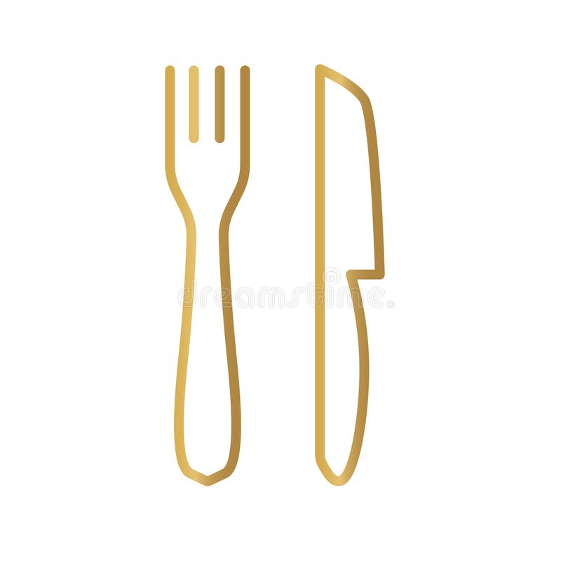 Golden fork and knife icon. Vector illustration vector illustration