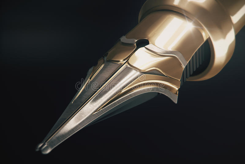 Golden fountain pen royalty free illustration