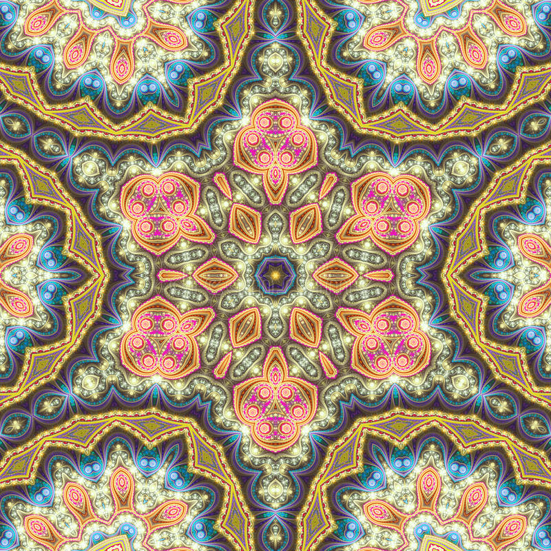 Golden fractal chakra. Digital artwork for creative graphic design vector illustration