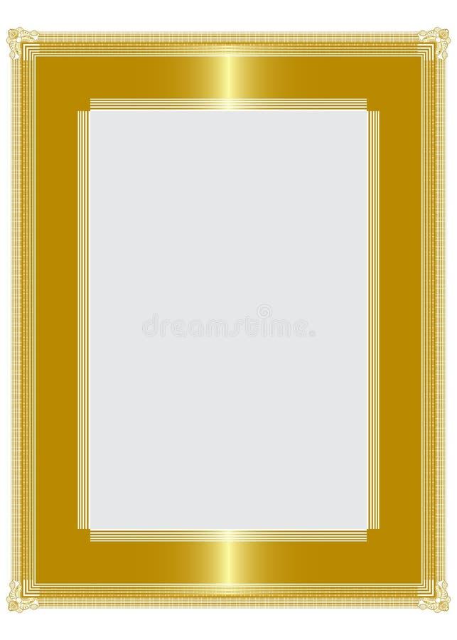 Golden frame. Highlighted golden picture frame design stock illustration
