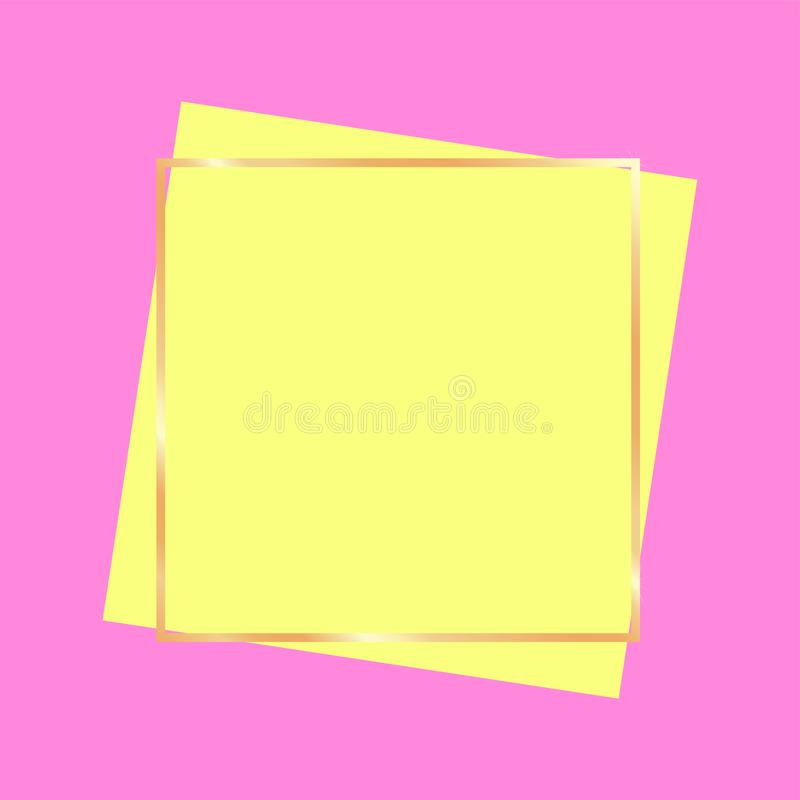 Golden frame banner for advertisement bright colors stock illustration