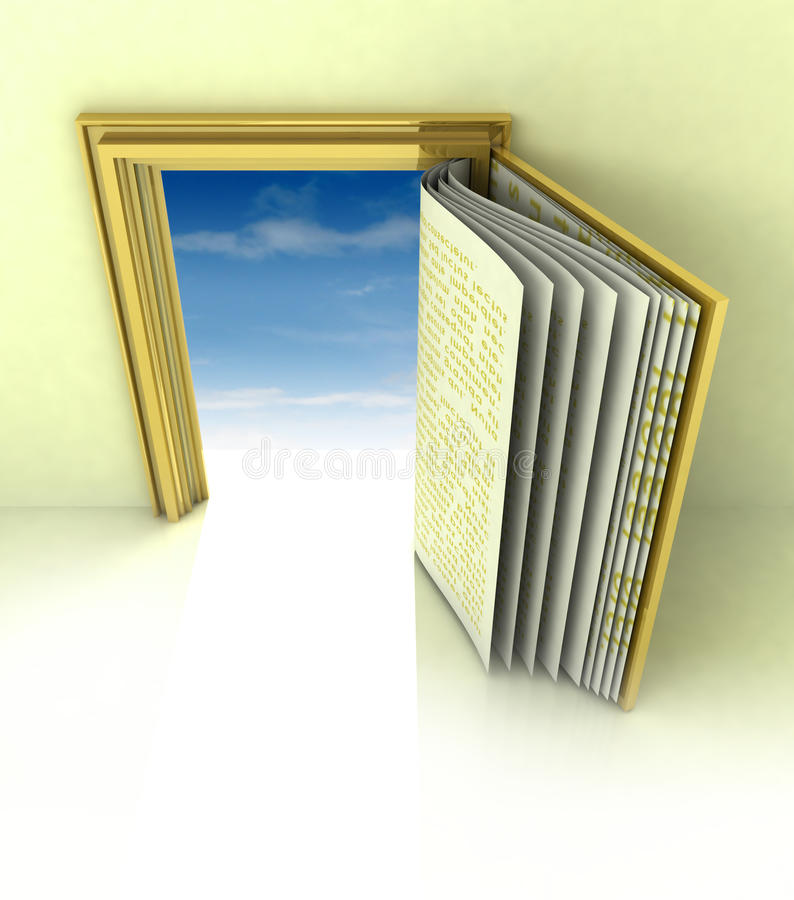 Golden frame with book door concept with blue sky stock illustration
