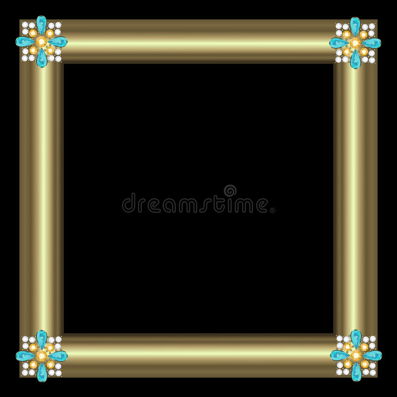 Golden frame. With brooch jewelry on black background royalty free illustration
