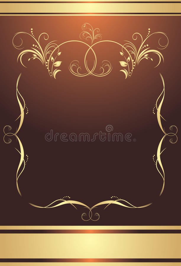 Golden frame on the brown background. Wrapping stock illustration