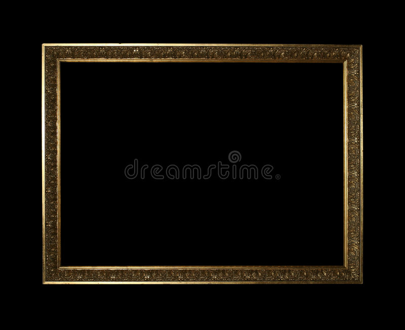 Golden frame with clipping path royalty free stock image