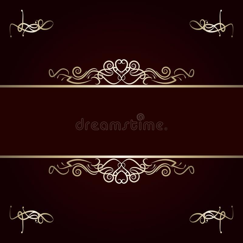 Golden frame on the dark red background