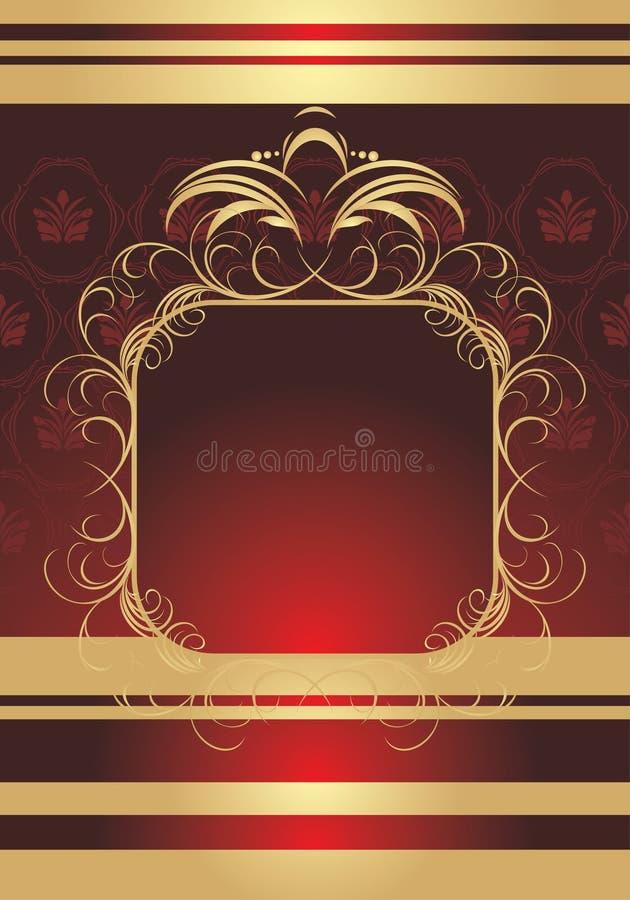 Golden frame on the decorative background royalty free illustration
