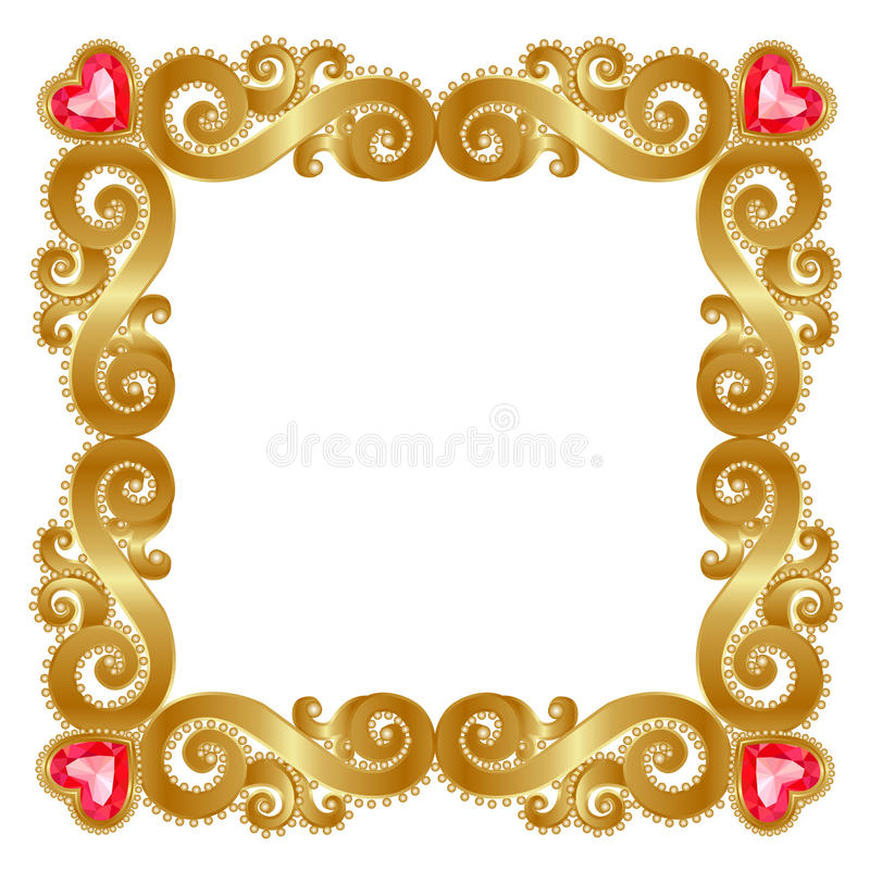 Golden frame. Delicate gold frame with ruby hearts on a white background vector illustration