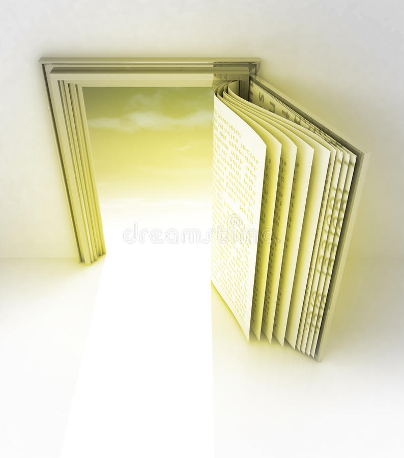 Golden frame with door as open book royalty free illustration