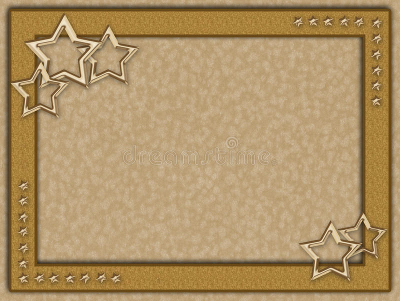 Golden Frame With Metal Stars Stock Image