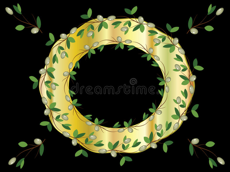 Golden frame with olive branches stock illustration