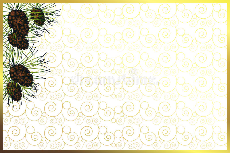 Download Golden Frame With Pine Cones Stock Illustration - Image: 6052088