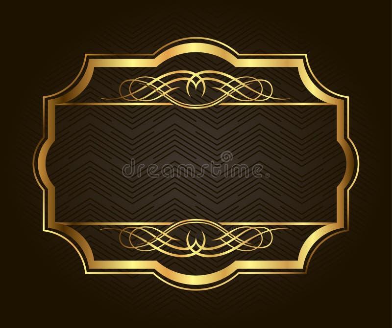 Golden frame for placing your picture or text behind. Vintage gold background, vector antique on black royalty free illustration
