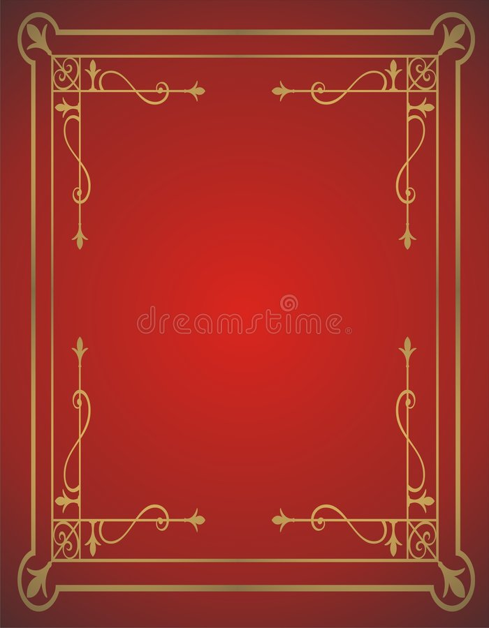 Golden frame on red background stock illustration