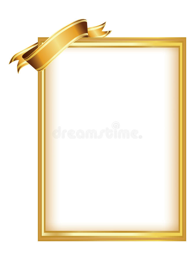 Golden Frame With Ribbon Stock Photo