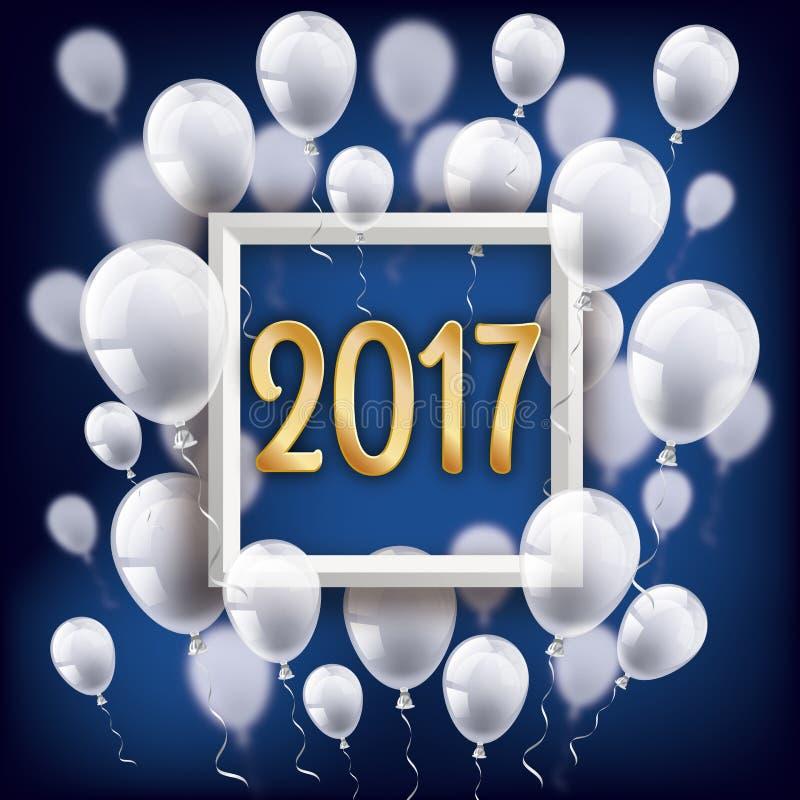 Golden 2017 Frame Silvester Night White Balloons. White balloons with frame and golden numbers 2017 on the blue background stock illustration